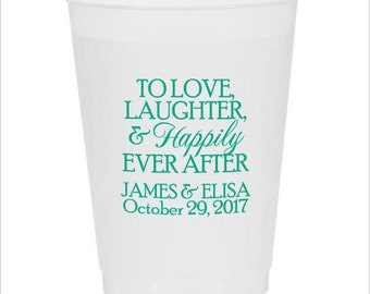 100 personalized wedding cups 16oz frost flex disposable cups wedding bar favors custom made