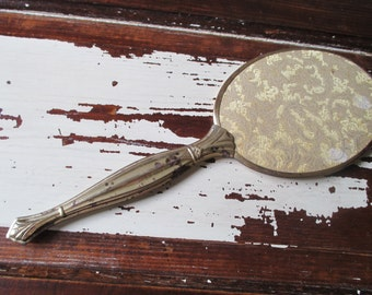 Vintage Gold Tone And Fabric Vanity Mirror With Handle