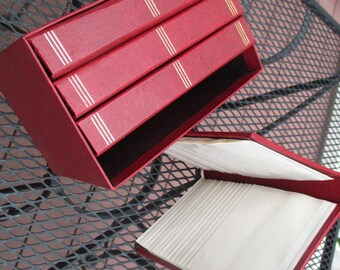SALE: WAS 28.00 NOW 22.00 - Vintage Red Photo Albums In Box - Set of Four - Holds up to 240 photos