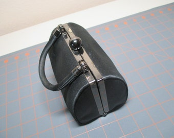 Vintage Black Satin Evening Bag