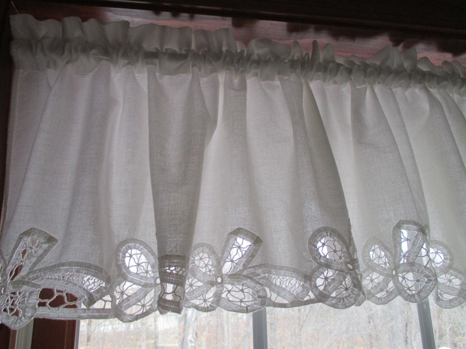 vintage battenburg white cotton lace panel valance