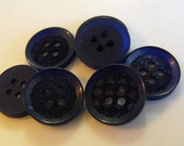 7 Navy Blue Checkered Center Round Buttons Size 9/16""