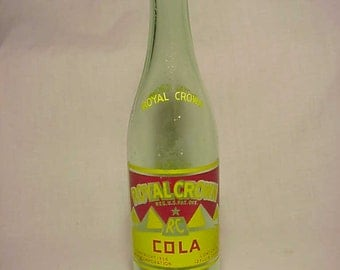 1948 RC Royal Crown Cola NEHI Corporation,  Aqua ACL Painted Label Crown Top Soda Bottle