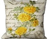 Yellow Roses on French Script Choice of 14x14 16x16 18x18 20x20 22x22 24x24 26x26 inch Pillow Cover