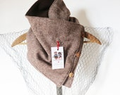 Tweed cowl made from recycled wool--winter fashion--women's cowl--plaid scarf--bandanna scarf