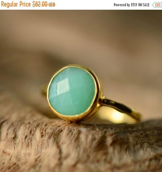 SALE - Chrysoprase Ring - Gemstone Ring - Stacking Ring - Gold Ring - Round Ring