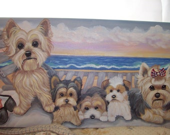 Yorkshire Terrier Original Painting Acrylic Artist Signed Summer 4th of July Patriotic Yorkie Puppy