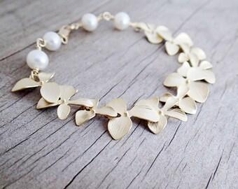 Cascading Gold Plated Flower Orchid Bracelet, Gold Tropical Bracelet, Gift Under 40