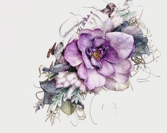 Newborn baby prop purple floral halo, newborn photography, flower girl, wedding halo