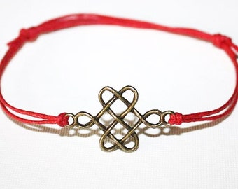 Chinese Knot Bracelet or Anklet, Love Knot, Antique Brass Bracelet, Bronze Bracelet, BFF Gift, Best Friend Gift, Friendship Jewelry