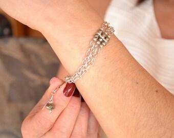 Chain & Link Bracelets, Pyrite Bracelet, Adjustable Bracelet, Multi Strand Bracelet