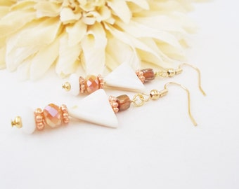 Bohemian White Earrings, White Mother of Pearl Shell Earrings, Czech Glass Jewelry, Bohochic, White Brown Earrings, Brown Cream Earrings