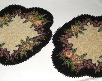 Pair of Vintage 1930's to 40's Floral Motif Centerpiece Doilies