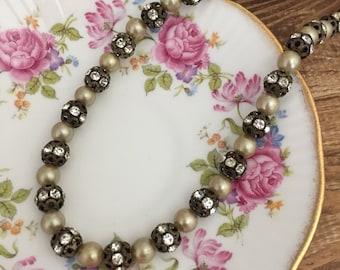 Vintage Rhinestone Necklace Wedding & Event Jewelry