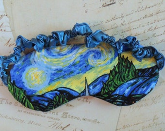 Starry Night Sleep mask // Cotton & Satin Eye Mask, Van Gogh