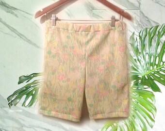 "Kawaii Pastel Goth High Waisted Bike Shorts 30"" Waist OOAK Vintage 70s Fabric Sample Irregular Experimental SoldAs Is"