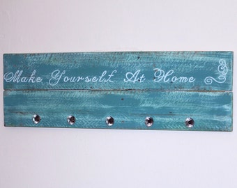 Reclaimed Wood Welcome Sign with Glass Knobs - pallet wood turquoise distressed - coat purse rack