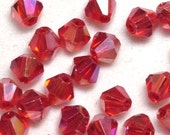 3mm Crystal Bicones Iridescent Red AB Bead Set of 5, 10, 20, 50 or 100 pieces - 5301 Supplies |AC-B3-029-Ab