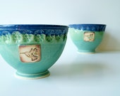 Ceramic Bowl with Hummingbird and flowers, handmade pottery Bowl, Green Blue