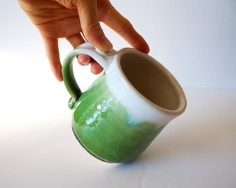 Pottery Coffee Mug in Green and White by RiverStone Pottery