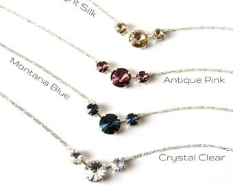 Swarovski Crystal Necklace Earring SET, CHOOSE COLOR, Bridesmaid Jewelry Set, Wedding Jewelry, Silver Bridesmaid Jewelry, Bridal Party Gifts