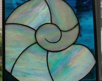Stained Glass Nautilus Shell Panel