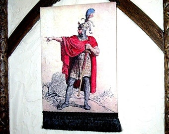 Alfred the Great Medieval Tapestry, Dollhouse Miniature 1/12 Scale, Hand Made