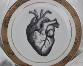 Gold or Silver Anatomical Heart Plate, Foodsafe, No-Wear Halloween Dish, Spooky Valentine Dish, Anatomical Tableware