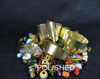 Brass cuff bracelet blanks, set of 7, polished finish blank assortment for wire wrapping, alcohol inks, decoupage, wrist corsages