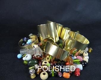 Set of 7 brass cuff bracelet blanks, polished