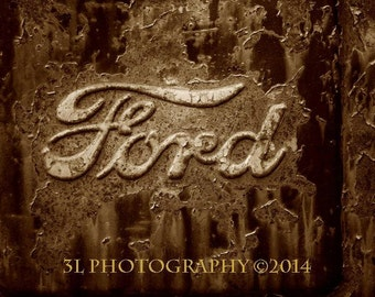 Ford Truck Vintage Old Rusty Car Fine Art Photograph Black and White