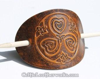 Celtic Hearts Leather Barrette