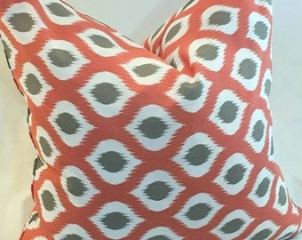Coral and Taupe Ikat Trellis -Pillow Cover