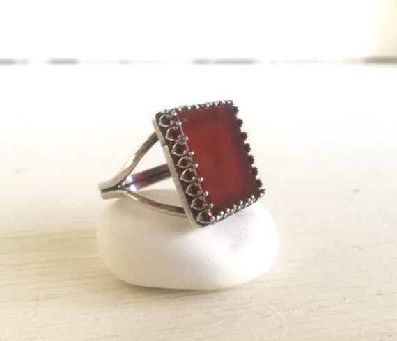 Red Stone Square Gemstone Ring in Silver.  Statement Ring. Red Ring.  Cocktail Ring. Gift. Jewelry.