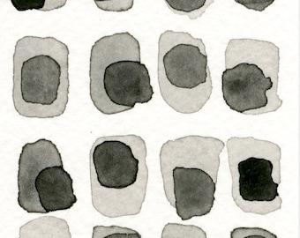 Grey Slate 04: Original ACEO watercolor painting monotone shades of grey pattern abstract minimalist modern art contemporary wall decor