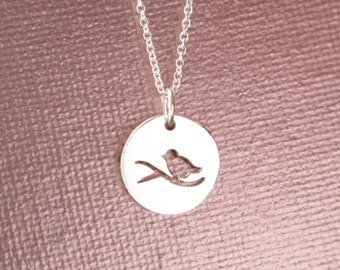 Sterling Silver Bird on a Branch Necklace - Bird Lover Necklace, Bird Branch Necklace, Nature, Birdie Necklace