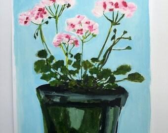 Acrylic still life painting // Geraniums no. 1 // original art // illustration on paper // flower painting