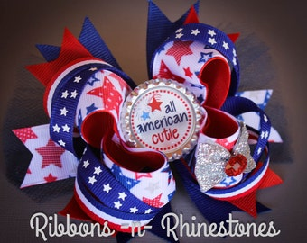 READY to SHIP!!  4th of July Boutique Style Hair Bow, Independance Day Bow, Red White and Blue 4th of July Bow
