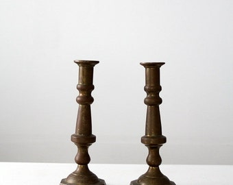 SALE antique brass candlesticks, baroque style large candle holders, hacienda taper holders