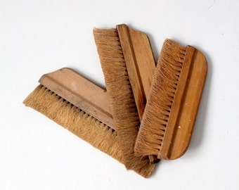 SALE antique hand broom collection, natural bristle brushes