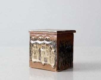 SALE studio pottery box, vintage ceramic square jar with lid
