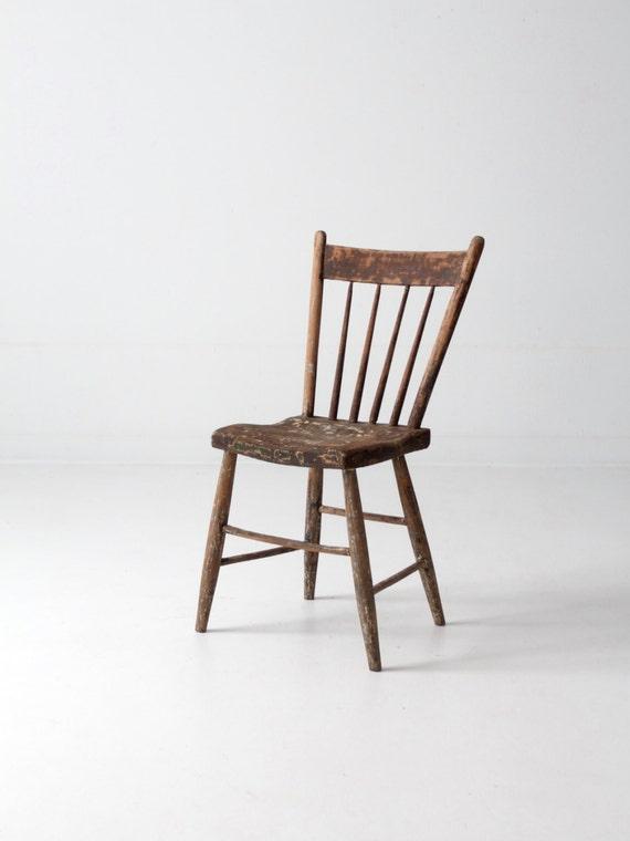 Antique Primitive Chair Spindle Back Folk Accent Chair
