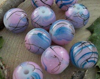Pink Drawbench 14mm Round Glass Beads              CC-81212