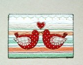 Anniversary card, love birds card, Fiber Art Card, red green, happy couple card, folk art birds, wedding anniversary card, love heart