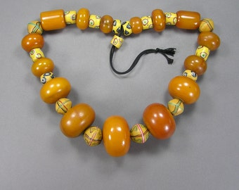 Amber Bakelite Necklace, HUGE Beads, Statement Necklace, Venetian Trade Beads, Antique Jewelry