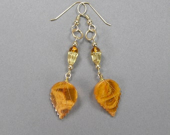 Baltic Amber Earrings, Egg Yolk Amber, Leaf Earrings, Boho, Hippie, Pierced, Gold Fill, Vintage Amber Earrings