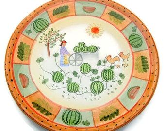 Pottery Plate with Country Scene - Vintage 10 inch - Wall Art