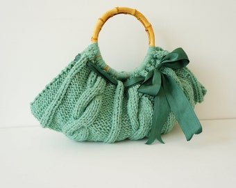 Women handbag.Hand knit bag. Knitted handbag. Women bag. Hand knit handbag.Knitted Purse.Handmade handbag Mint handbag