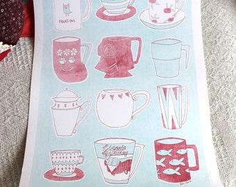 SALE - Mug collection Lithograph Print 32 x 45 cm