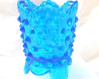 Fenton Hobnail Toothpick holder BLUE Vintage 60s 3 footed collect votive vase...